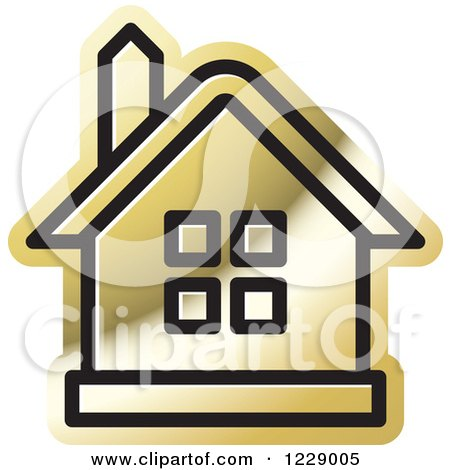 Clipart of a Gold House Icon - Royalty Free Vector Illustration by Lal Perera