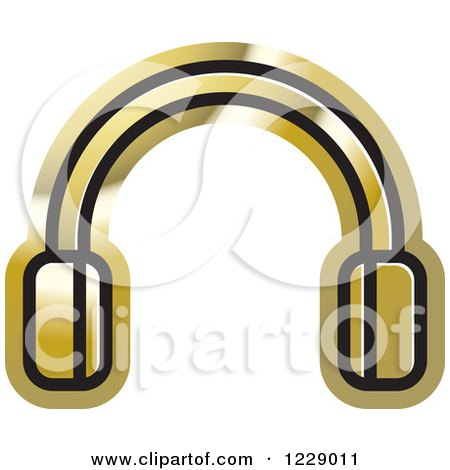 Clipart of a Gold Headphones Icon - Royalty Free Vector Illustration by Lal Perera