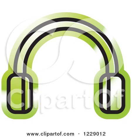 Clipart of a Green Headphones Icon - Royalty Free Vector Illustration by Lal Perera