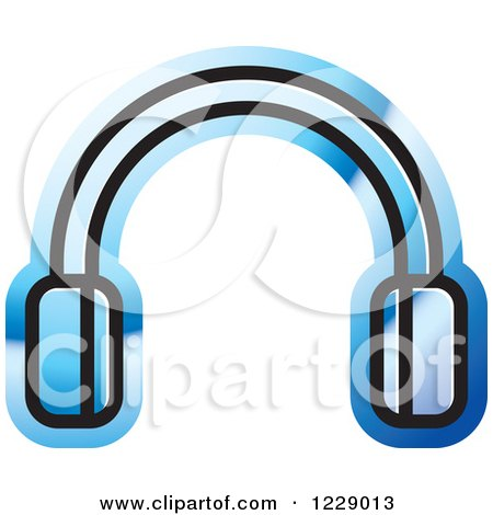 Clipart of a Blue Headphones Icon - Royalty Free Vector Illustration by Lal Perera