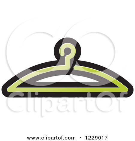 Clipart of a Green Clothes Hanger Icon - Royalty Free Vector Illustration by Lal Perera