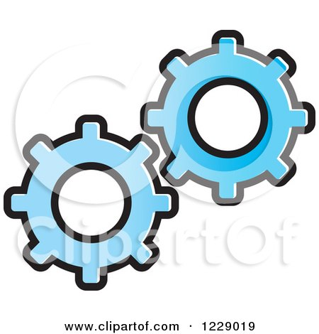 Clipart of a Blue Gear Cog Icon - Royalty Free Vector Illustration by Lal Perera