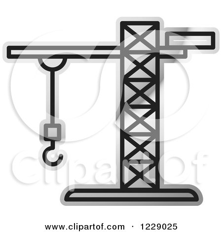 Clipart of a Silver Construction Crane Icon - Royalty Free Vector Illustration by Lal Perera
