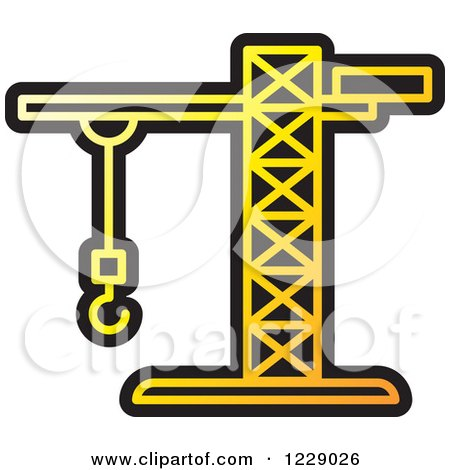 Clipart of a Yellow Construction Crane Icon - Royalty Free Vector Illustration by Lal Perera