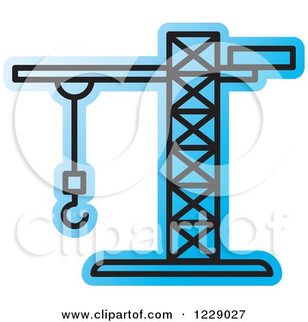 Clipart of a Blue Construction Crane Icon - Royalty Free Vector Illustration by Lal Perera