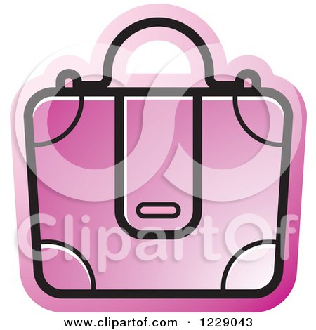 Clipart of a Pink Briefcase Bag Icon - Royalty Free Vector Illustration by Lal Perera