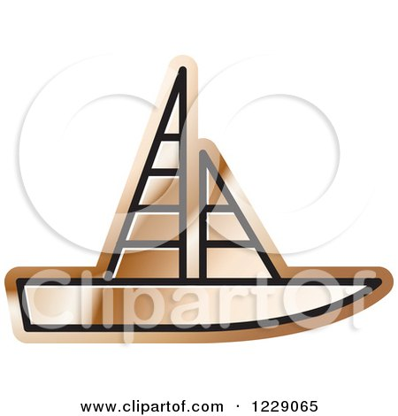 Clipart of a Bronze Sailboat Icon - Royalty Free Vector Illustration by Lal Perera