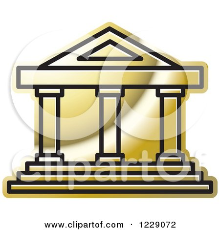 Clipart Of A Golden Court House Building Icon Royalty Free Vector Illustration