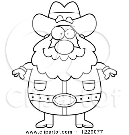 Clipart of a Black and White Plump Prospector Man Facing Front - Royalty Free Vector Illustration by Cory Thoman