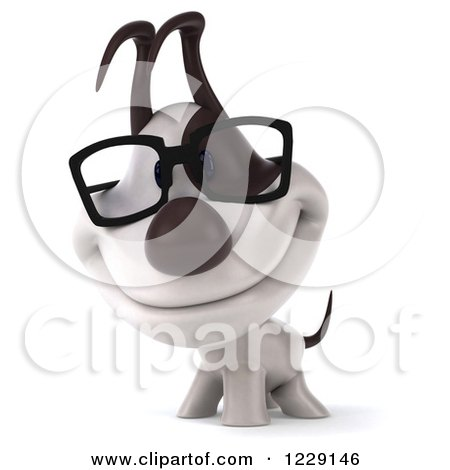 Clipart of a 3d Happy Bespectacled Jack Russell Terrier Dog - Royalty Free Illustration by Julos