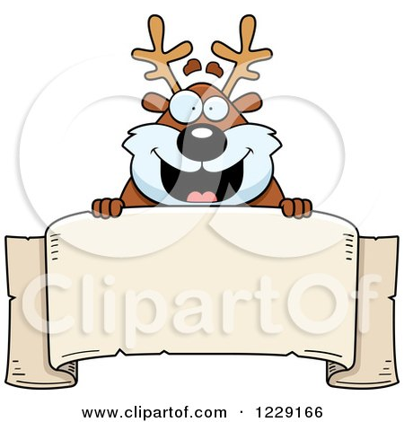 Clipart of a Happy Chubby Caribou Reindeer over a Banner - Royalty Free Vector Illustration by Cory Thoman