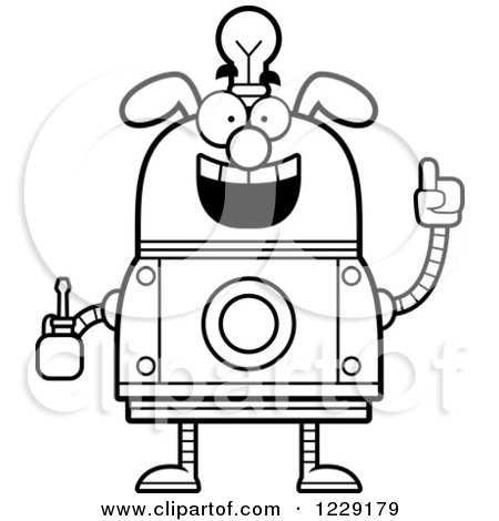 Clipart of a Black and White Smart Dog Robot with an Idea Lightbulb and Screwdriver - Royalty Free Vector Illustration by Cory Thoman
