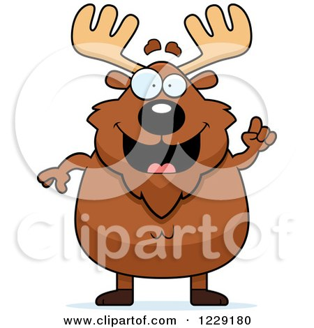 Clipart of a Chubby Moose with an Idea - Royalty Free Vector Illustration by Cory Thoman