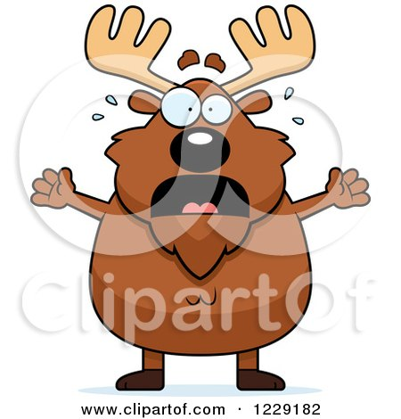 Clipart of a Scared Chubby Moose - Royalty Free Vector Illustration by Cory Thoman