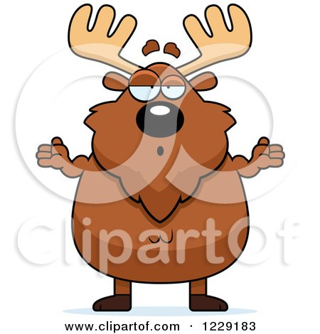 Clipart of a Careless Shrugging Chubby Moose - Royalty Free Vector Illustration by Cory Thoman