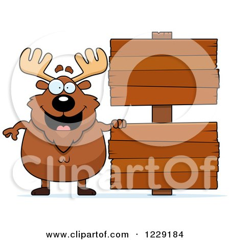 Clipart of a Chubby Moose with Wooden Signs - Royalty Free Vector Illustration by Cory Thoman