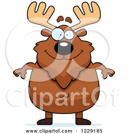 Clipart of a Happy Chubby Moose - Royalty Free Vector Illustration by Cory Thoman