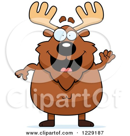 Clipart of a Friendly Chubby Moose Waving - Royalty Free Vector Illustration by Cory Thoman