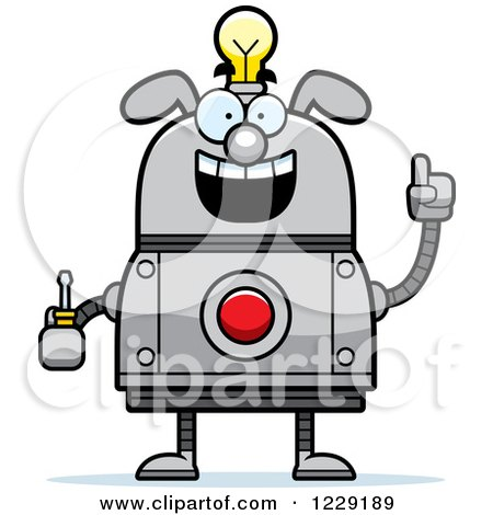 Clipart of a Smart Dog Robot with an Idea Lightbulb and Screwdriver - Royalty Free Vector Illustration by Cory Thoman