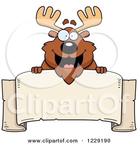 Clipart of a Happy Chubby Moose over a Banner Sign - Royalty Free Vector Illustration by Cory Thoman