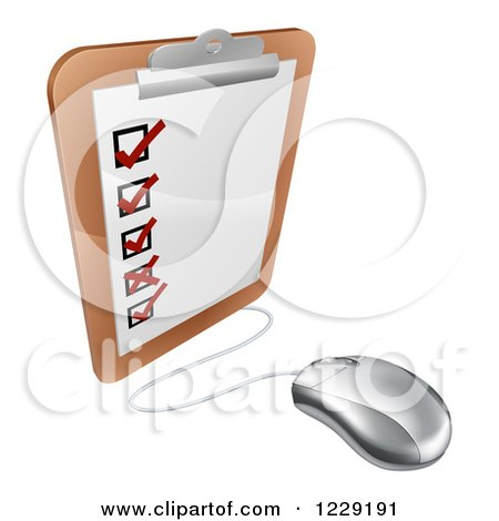 Clipart of a 3d Computer Mouse Connected to a Survey Clipboard - Royalty Free Vector Illustration by AtStockIllustration