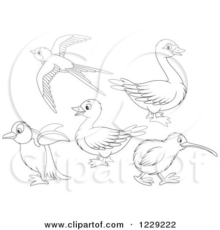 Clipart of Outlined Cute Birds - Royalty Free Vector Illustration by Alex Bannykh