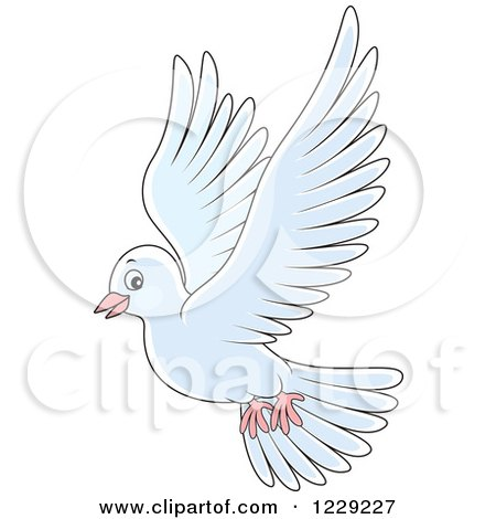 Clipart of a Flying White Dove - Royalty Free Vector Illustration by Alex Bannykh