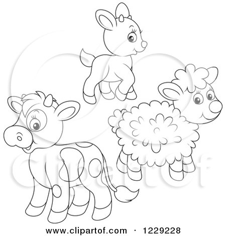 Clipart of an Outlined Cute Baby Goat Lamb and Cow - Royalty Free Vector Illustration by Alex Bannykh