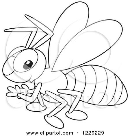 free black and white hornet clipart