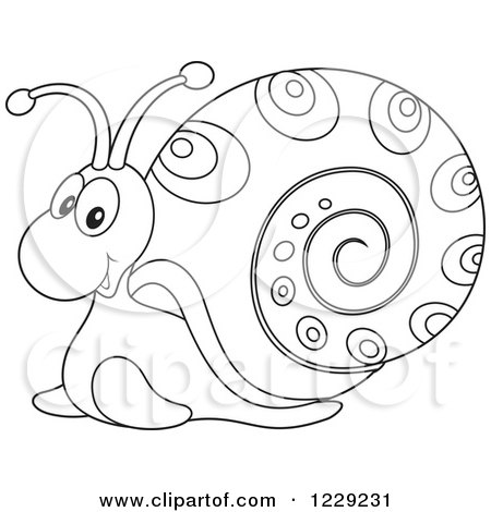 Clipart of an Outlined Happy Snail - Royalty Free Vector Illustration by Alex Bannykh