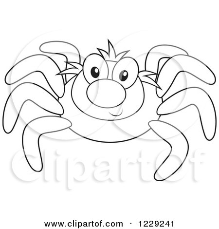 Clipart Of An Outlined Happy Spider