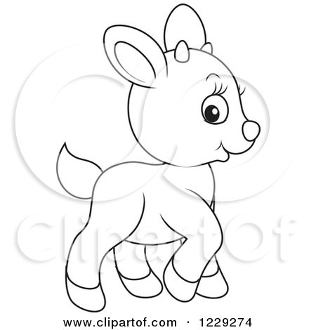 Clipart of an Outlined Cute Goat - Royalty Free Vector Illustration by Alex Bannykh
