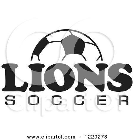 Clipart of a Black and White Ball and LIONS SOCCER Team Text - Royalty Free Vector Illustration by Johnny Sajem