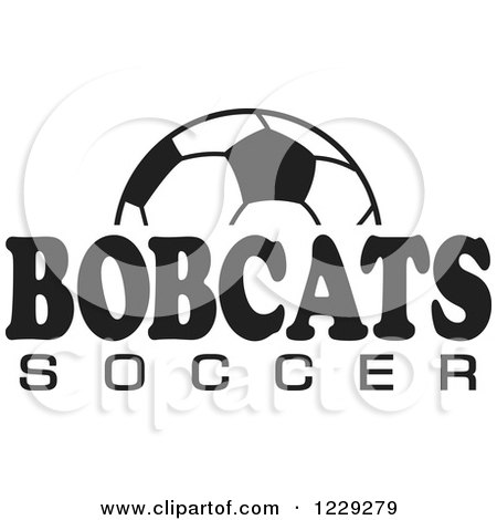 Clipart of a Black and White Ball and BOBCATS SOCCER Team Text - Royalty Free Vector Illustration by Johnny Sajem