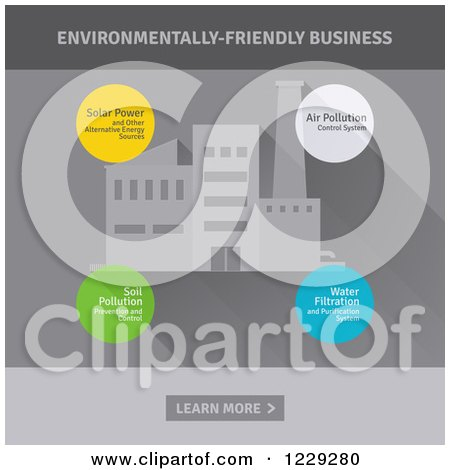 Clipart of a Factory and Environmentally Friendly Business Bubbles - Royalty Free Vector Illustration by elena