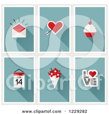 Clipart of a Valentine Envelope Cupids Arrow Heart Cupcake Calendar Flowers and Love - Royalty Free Vector Illustration by elena
