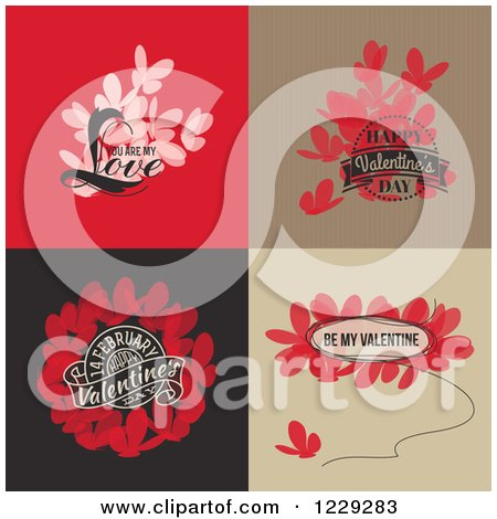 Clipart of Butterflies and Valentine Greetings - Royalty Free Vector Illustration by elena