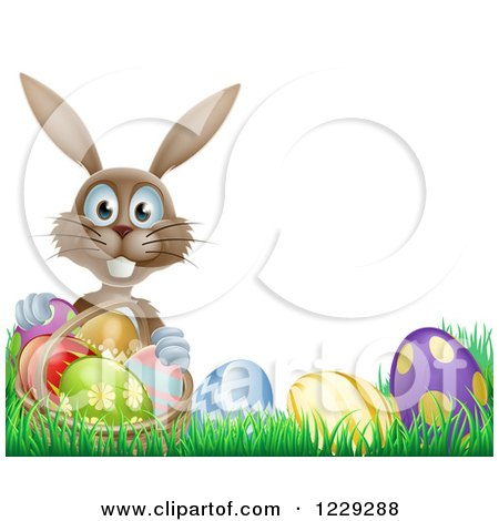Clipart of a Brown Bunny Holding Basket by Easter Eggs - Royalty Free Vector Illustration by AtStockIllustration