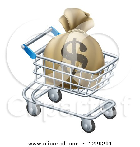 Clipart of a Dollar Money Bag in a Shopping Cart - Royalty Free Vector Illustration by AtStockIllustration