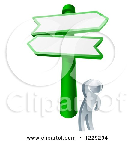 Clipart of a 3d Silver Man Looking up at Road Signs - Royalty Free Vector Illustration by AtStockIllustration