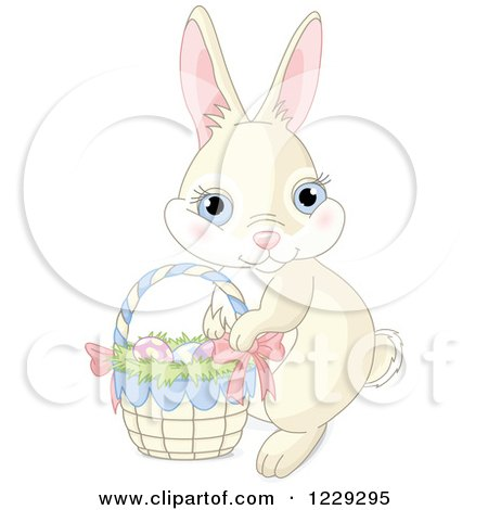 Clipart of a Cute Beige Easter Bunny Rabbit with a Basket of Eggs - Royalty Free Vector Illustration by Pushkin