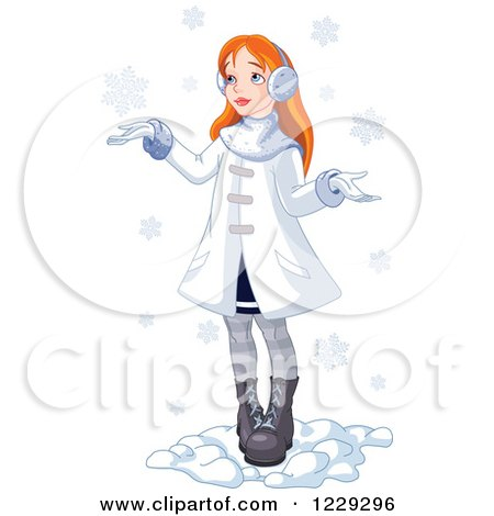 Clipart of a Red Haired Girl Holding Her Hands out in the Snow - Royalty Free Vector Illustration by Pushkin
