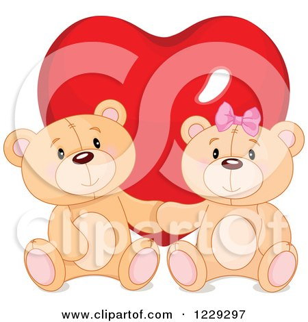 Clipart of a Cute Teddy Bear Couple in Front of a Valentine Heart - Royalty Free Vector Illustration by Pushkin