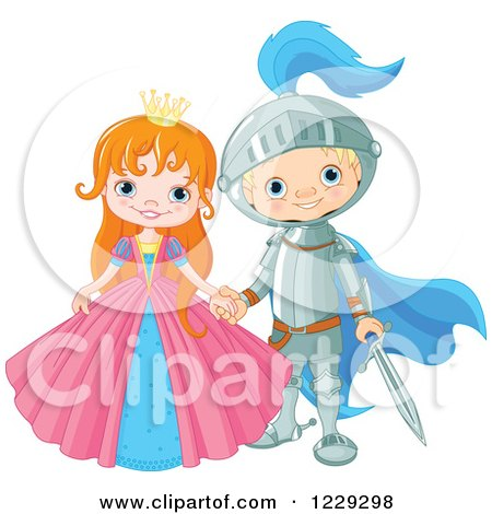 Clipart of a Happy Fairy Tale Fantasy Princess and Knight Holding Hands - Royalty Free Vector Illustration by Pushkin