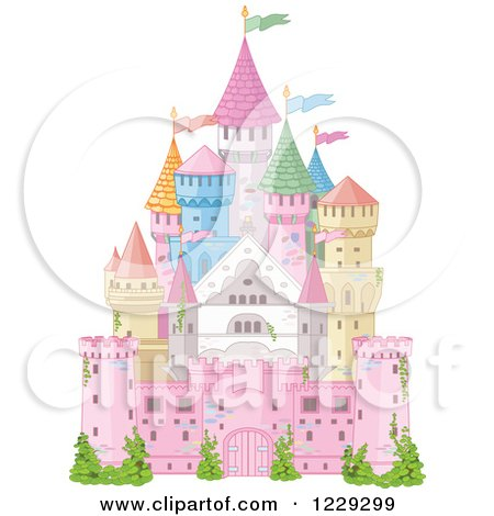 Clipart of a Colorful Fairy Tale Castle with Flags - Royalty Free Vector Illustration by Pushkin