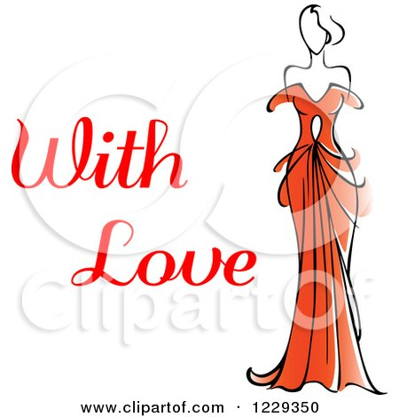 Clipart of a Woman in a Red Dress and with Love Text - Royalty Free Vector Illustration by Vector Tradition SM
