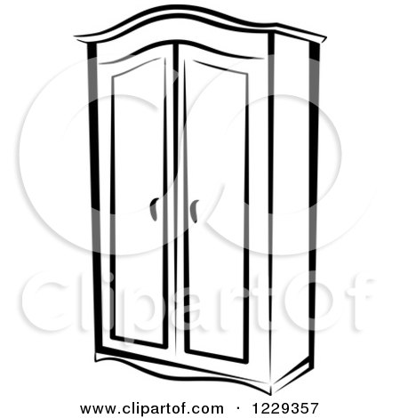 Clipart Of A Black And White Wardrobe Closet