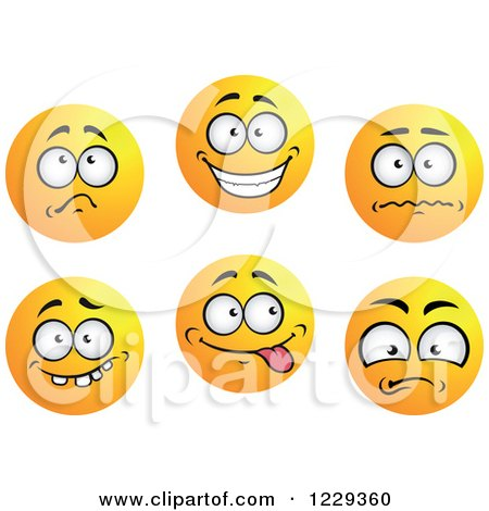 Clipart of Yellow Emoticon Smiley Faces - Royalty Free Vector Illustration by Vector Tradition SM
