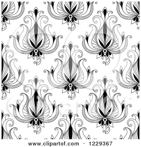 Clipart of a Seamless Background Pattern of Black and White Flowers - Royalty Free Vector Illustration by Vector Tradition SM