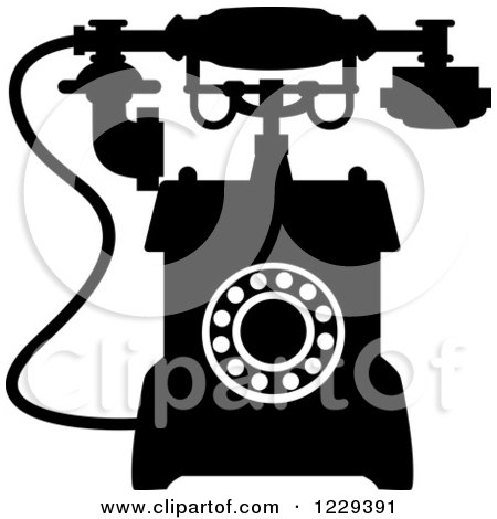 Clipart of a Retro Black and White Desk Telephone 6 - Royalty Free Vector Illustration by Vector Tradition SM